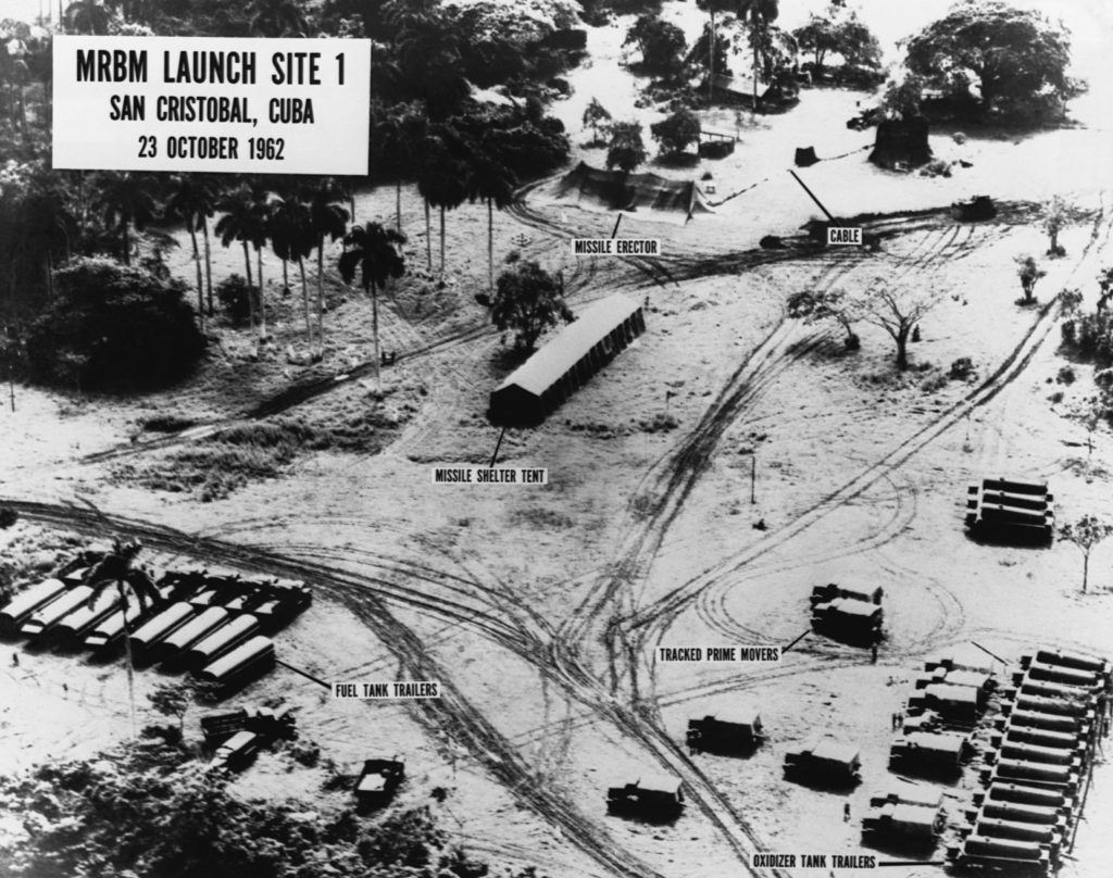 23 Oct 1962, San Cristobal, Cuba --- An aerial intelligence photograph of MRBM Launch Site 1 in San Cristobal, Cuba, showing missile erectors, fuel tank trailers, and oxidizer tank trailers. The photo was taken during the Cuban Missile Crisis, October 23, 1962. --- Image by © CORBIS